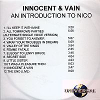 Innocent & Vain - an Introduction to Nico UK CD Universal/Polydor 589 421-2